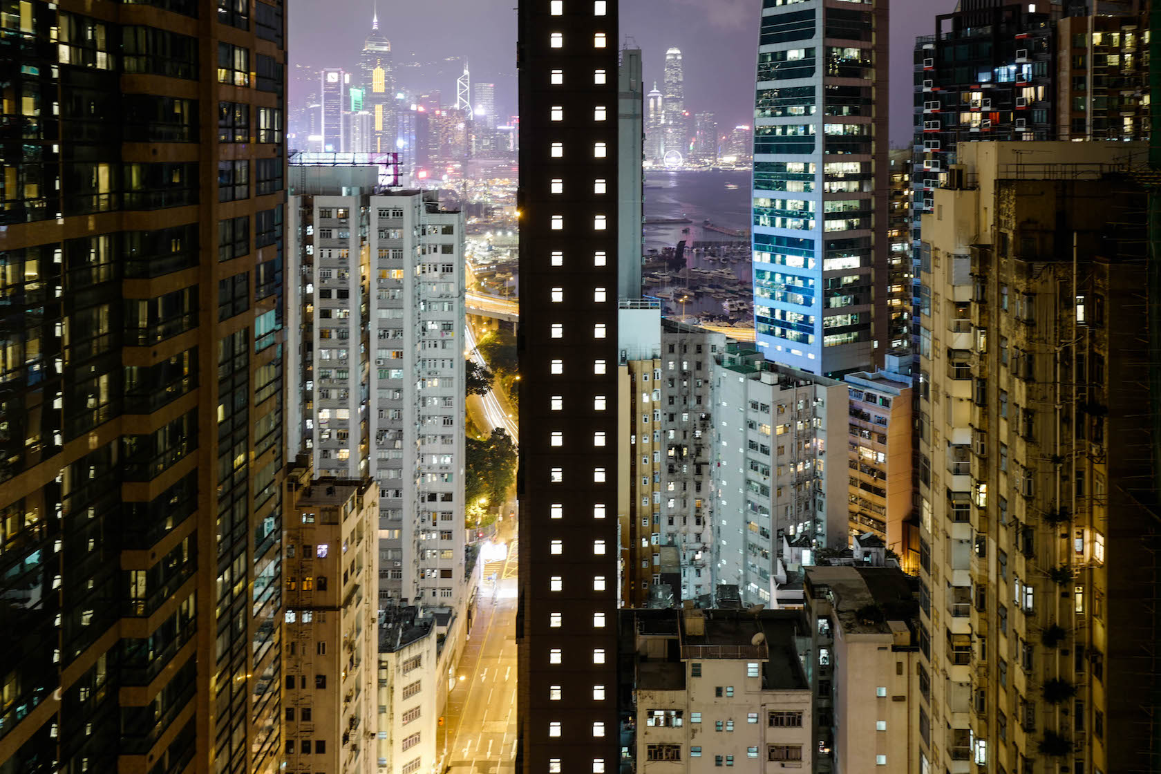 Hong Kong Lights Cityscape at night architecture rooftop urbex